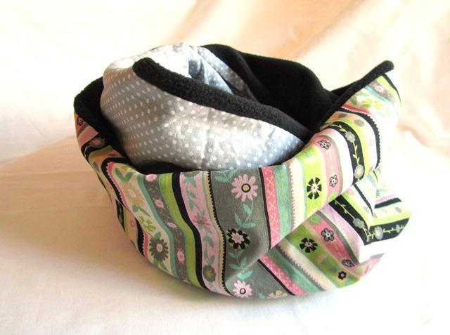- Loop / Rundschal / Schlauchschal mit Fleece und Blüten / Handmade - Loop / Rundschal / Schlauchschal mit Fleece und Blüten / Handmade