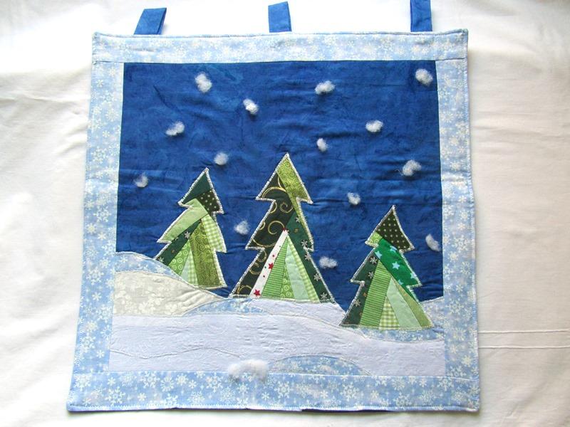 - Wandbehang, Tannen mit Schnee, Patchwork,Unikat,selbstgenäht - Wandbehang, Tannen mit Schnee, Patchwork,Unikat,selbstgenäht