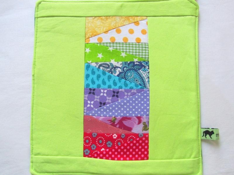 Kleinesbild - Topflappen, Set, bunte Dreiecke, Patchwork, handmade,