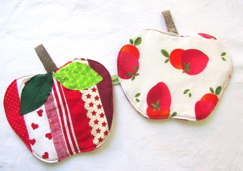 Kleinesbild - Topflappen Apfel, Set, Patchwork, Äpfel, handemade,