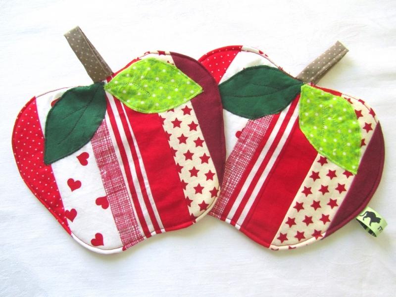 - Topflappen Apfel, Set, Patchwork, Äpfel, handemade, - Topflappen Apfel, Set, Patchwork, Äpfel, handemade,