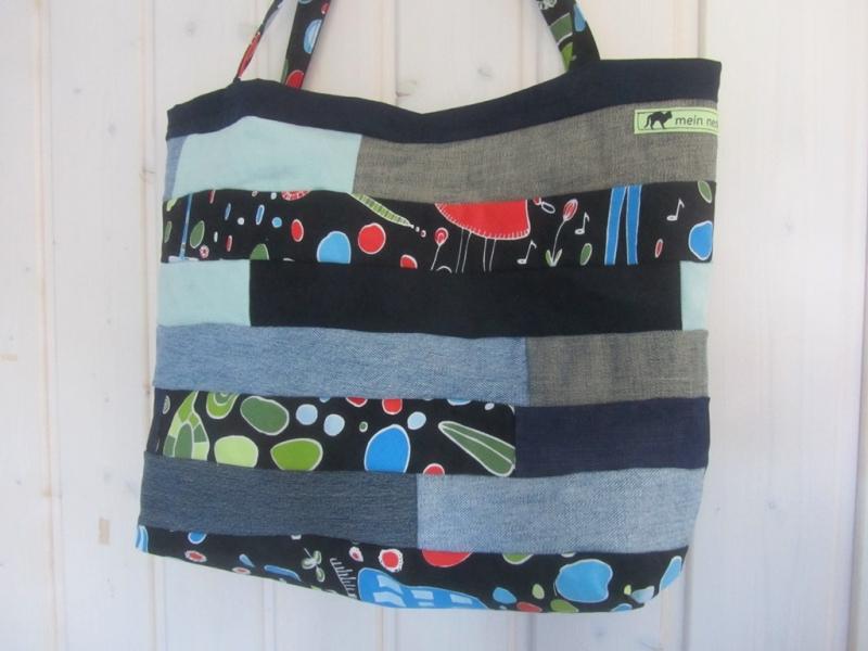 - Einkaufstasche, Umhängetasche , Shopper mit Streifen, Patchwork, upcycling - Einkaufstasche, Umhängetasche , Shopper mit Streifen, Patchwork, upcycling