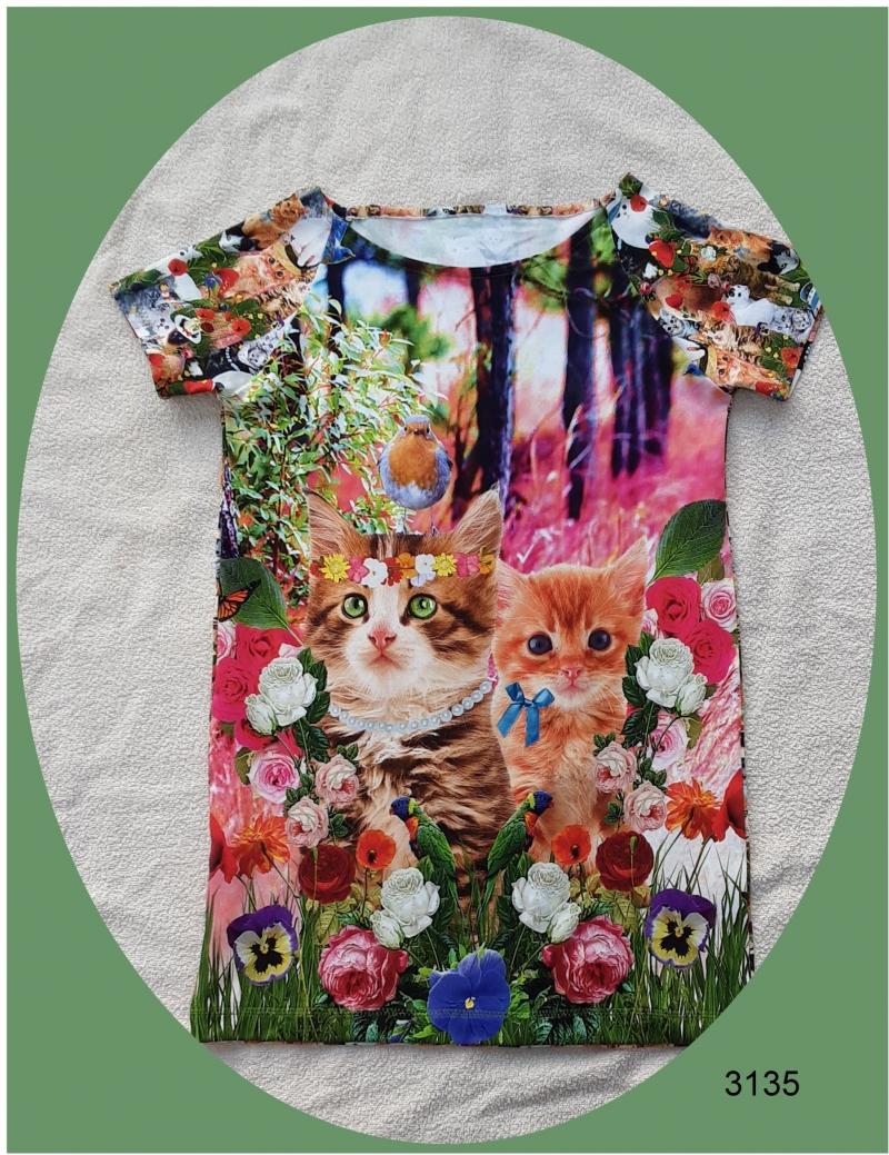 - Mädchenkleid, Longshirt mit niedlichen Kätzchen im 3-D Aufdruck! - Mädchenkleid, Longshirt mit niedlichen Kätzchen im 3-D Aufdruck!