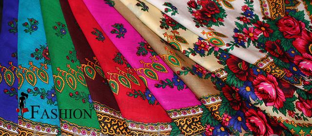 Kleinesbild - Ukrainischer Traditionsschal mit Fransen in floralem Design