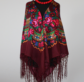 - Ukrainischer Traditionsschal mit Fransen in floralem Design - Ukrainischer Traditionsschal mit Fransen in floralem Design