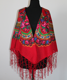 - Ukrainischer Traditionsschal mit Fransen in floralem Design