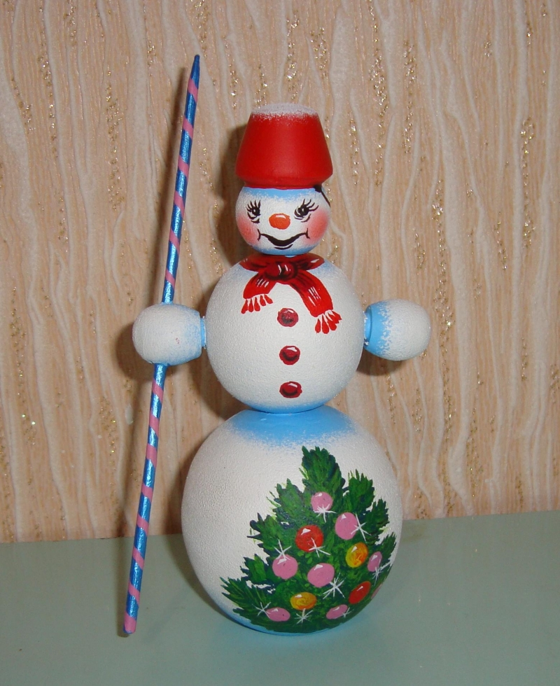 - Sortiment mit 3 handgearbeiteten Schneemännern aus Holz, Unikate, handbemalt - Sortiment mit 3 handgearbeiteten Schneemännern aus Holz, Unikate, handbemalt