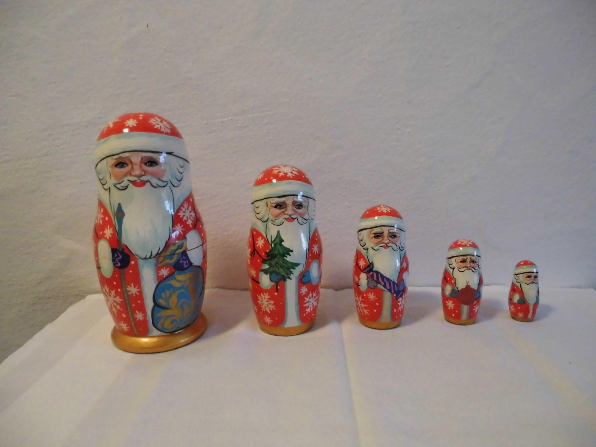 Kleinesbild - Handgearbeiteter Nikolaus / St.Claus, Holz, 5-er Set, Unikat