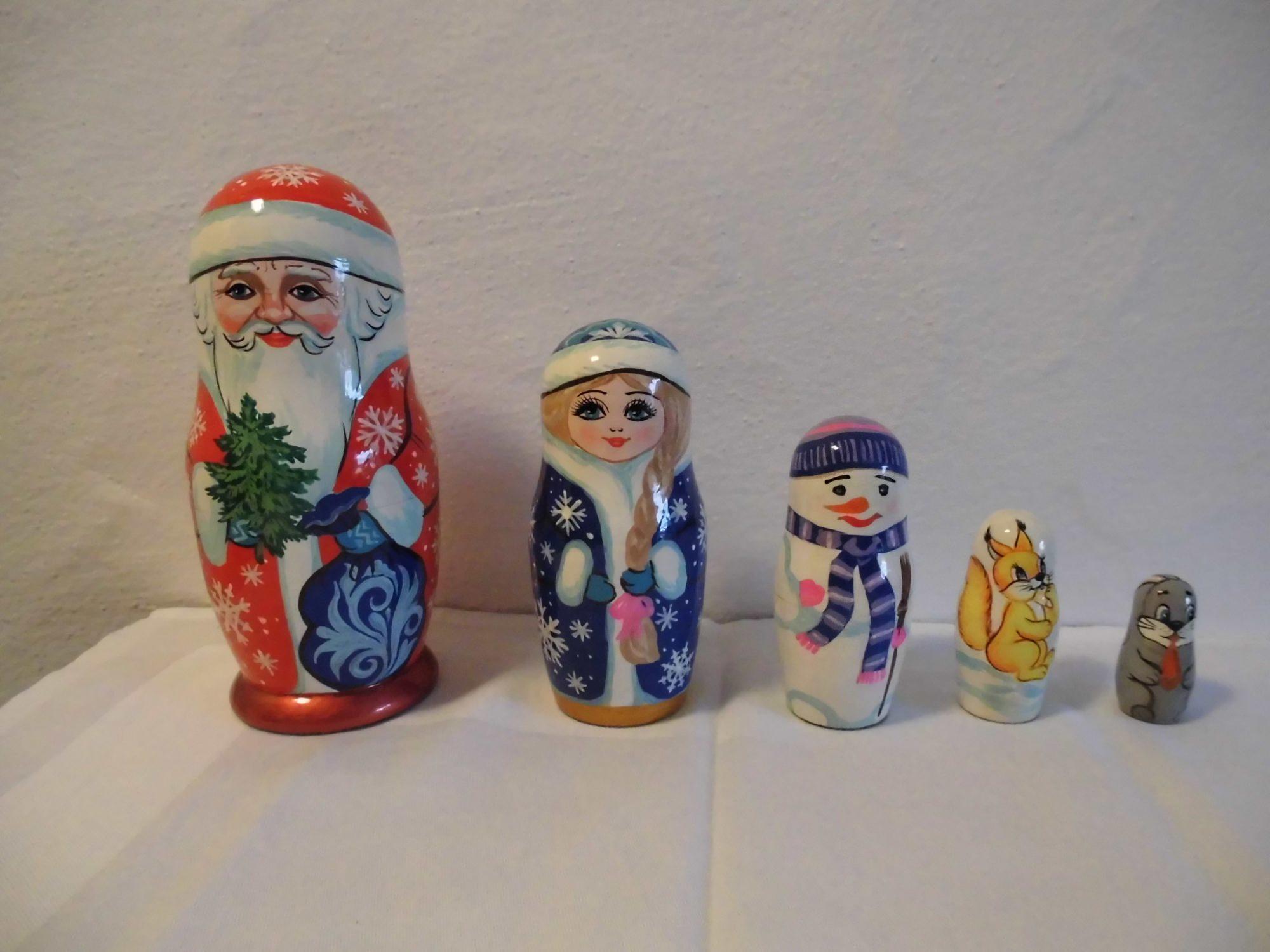 - Handgearbeiteter Nikolaus / St.Claus, Holz, 5-er Set, Unikat - Handgearbeiteter Nikolaus / St.Claus, Holz, 5-er Set, Unikat