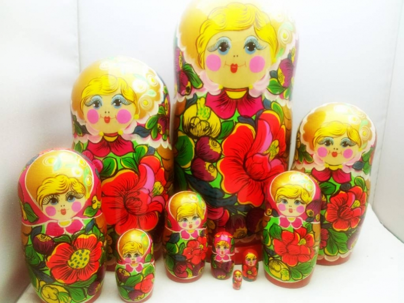 - Handgearbeite und handbemalte Blumen-Matroschka 10-er-Set, Unikat,  Größe 26 cm  - Handgearbeite und handbemalte Blumen-Matroschka 10-er-Set, Unikat,  Größe 26 cm