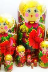Kleinesbild - Handgearbeite und handbemalte Blumen-Matroschka 10-er-Set, Unikat,  Größe 26 cm
