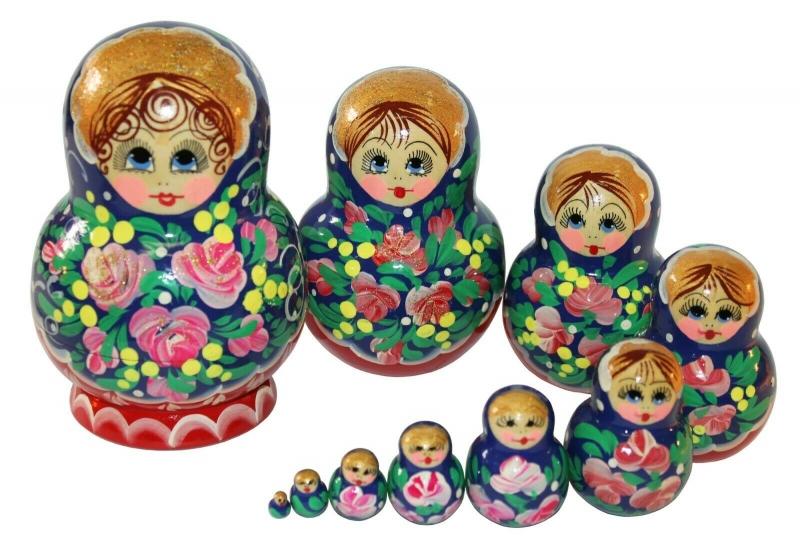 - Handbemalte Matroschka m. 10 Einzelpuppen, Holz, Unikat, 13 cm hoch  - Handbemalte Matroschka m. 10 Einzelpuppen, Holz, Unikat, 13 cm hoch