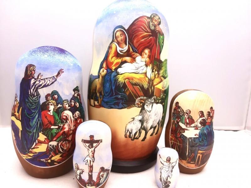 - Handgearbeitete Matroschka, Motiv religiös, 5-er Set, Unikat - Handgearbeitete Matroschka, Motiv religiös, 5-er Set, Unikat