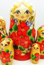 Kleinesbild - Handgearbeitete Matroschka mit Blumenmotiv, gelb-rot, 5-er Set, Unikat