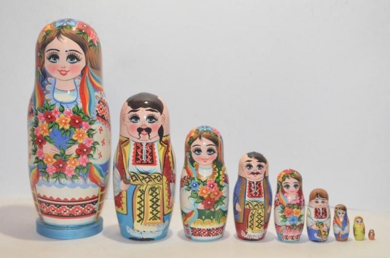 "- Handgearbeitete Matroschka Super ""Familie"", 9-er,  Unikat, 28 cm - Handgearbeitete Matroschka Super ""Familie"", 9-er,  Unikat, 28 cm"