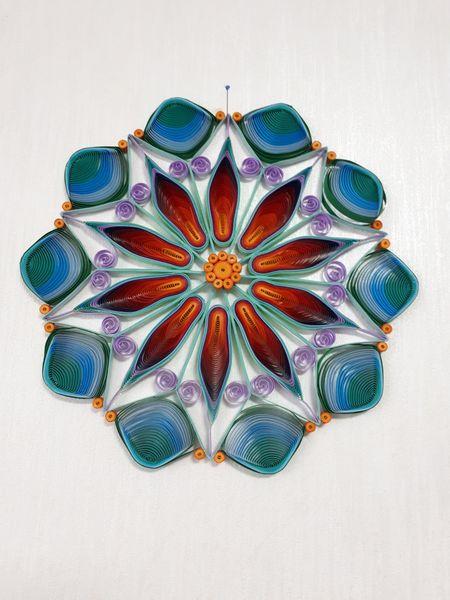 -  Mandala Feuer und Wasser, Durchmesser 23 cm aus Kartonpapier, Handarbeit  -  Mandala Feuer und Wasser, Durchmesser 23 cm aus Kartonpapier, Handarbeit