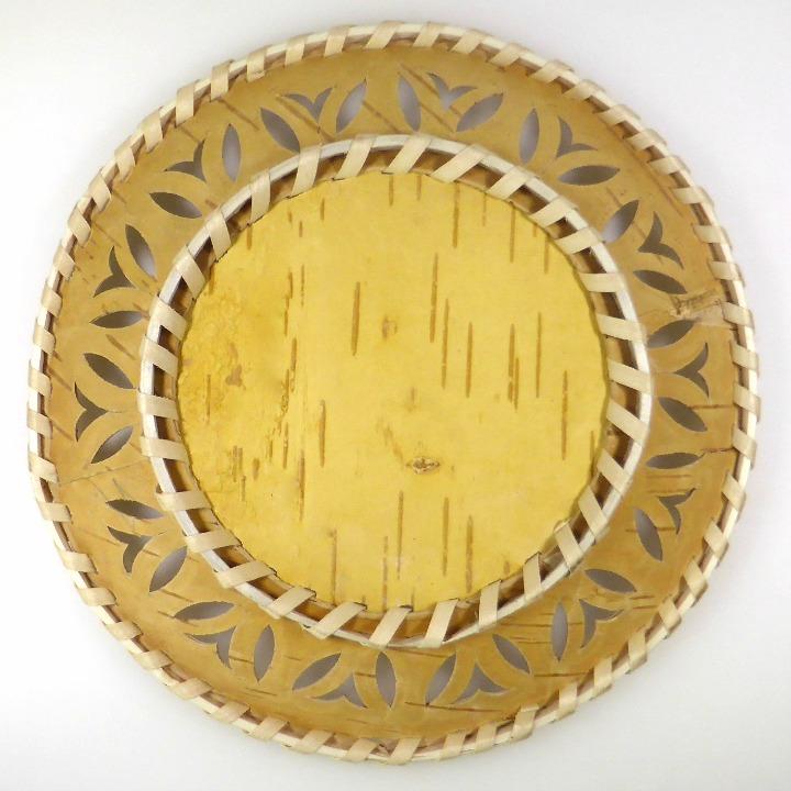 Kleinesbild - Birkenrinden-Schale, flach, rund, Handarbeit, Unikat, 19 cm