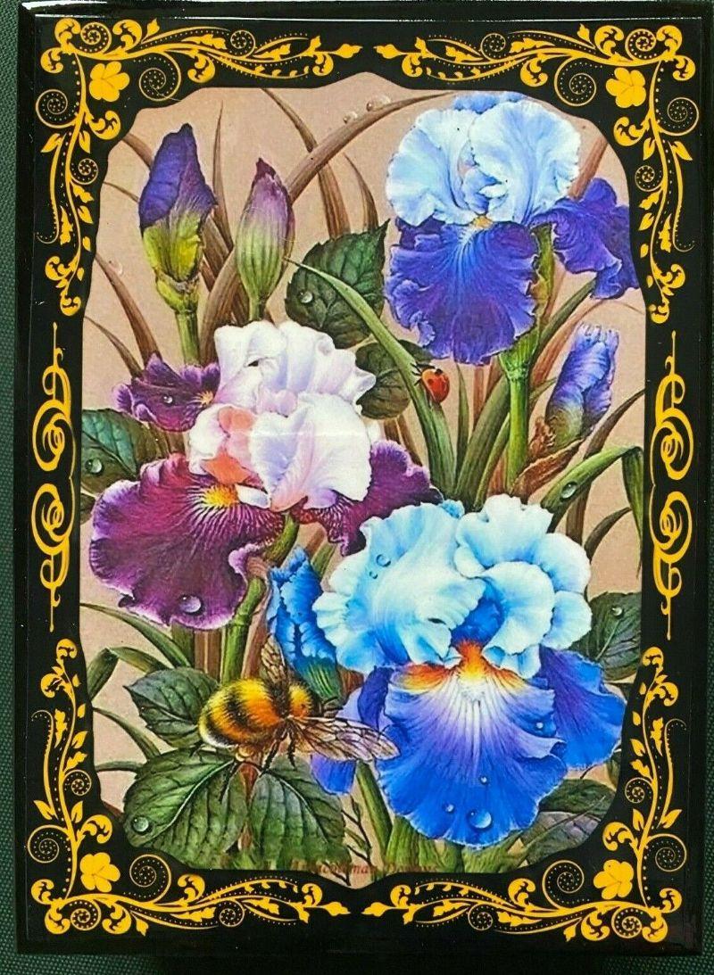 - Russische Lackschatulle Serie Blumen # 4, Schwertlilien, groß, 13x18 cm  - Russische Lackschatulle Serie Blumen # 4, Schwertlilien, groß, 13x18 cm