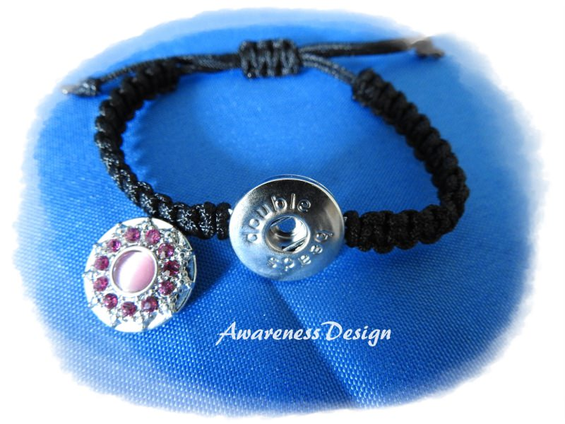 Kleinesbild - Flechtarmband mit Druckknopf  rosa StrassSteinchen Makrameearmband