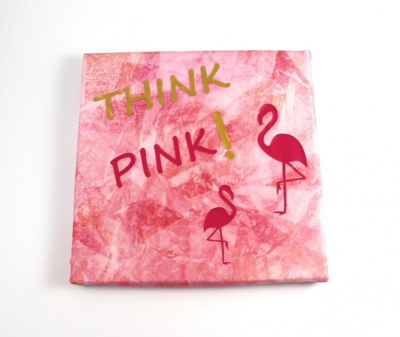 Kleinesbild - Keilrahmen SeidenBild 20x20 cm ThinkPink Einzelstück von ZWEIFARBIG Flamingo Wohndeko Kunst homedeko Gastgeschenk