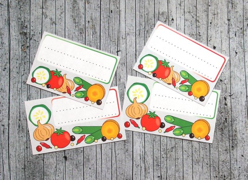 - Einmachetiketten **VeggieVeggie** von ZWEIFARBIG 12 Stück gummiertes Papier Aufkleber Sticker Dekoration Etiketten Gemüse Relish - Einmachetiketten **VeggieVeggie** von ZWEIFARBIG 12 Stück gummiertes Papier Aufkleber Sticker Dekoration Etiketten Gemüse Relish