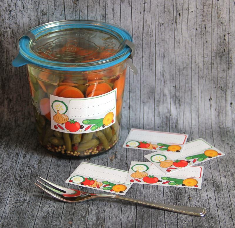 Kleinesbild - Einmachetiketten **VeggieVeggie** von ZWEIFARBIG 12 Stück gummiertes Papier Aufkleber Sticker Dekoration Etiketten Gemüse Relish
