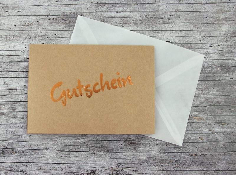 Kleinesbild - Klappkarte **Gutschein** von ZWEIFARBIG Kraftpapier Kupfer Geburtstag Dankeschön Gutscheine Grußkarte Geburtstagsgrüße Geburtstagskarte