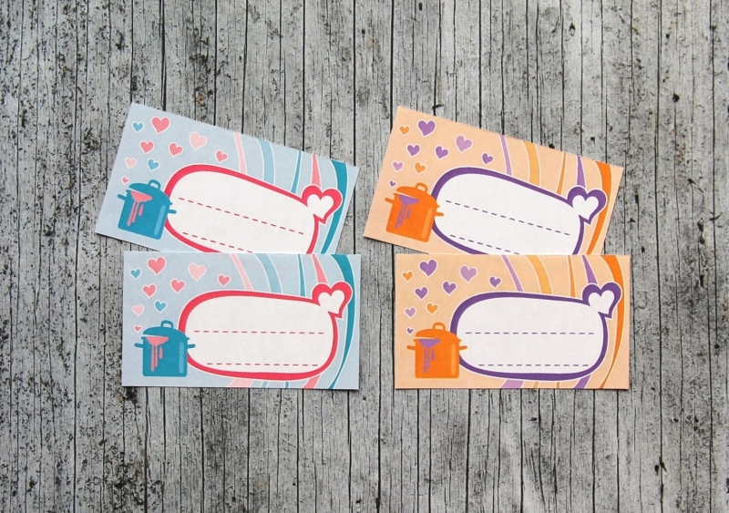 Kleinesbild - Einmachetiketten **mitHerz** von ZWEIFARBIG 12 Stück gummiertes Papier Etiketten Aufkleber Sticker Einmachsticker Marmeladenetiketten Dekoration