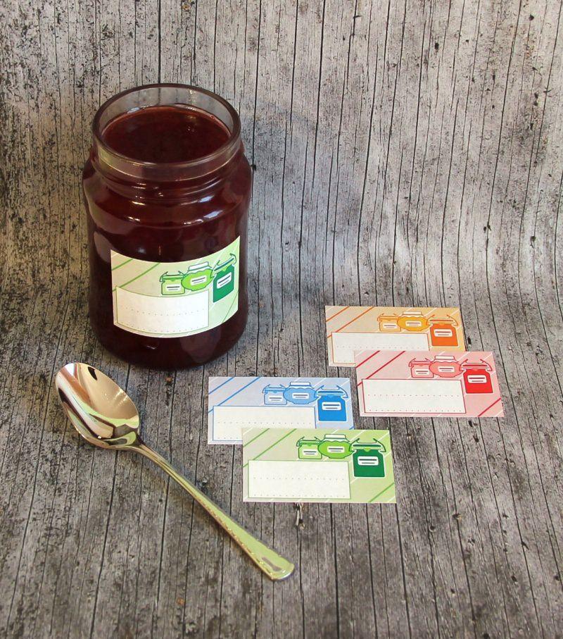 Kleinesbild - Einmachetiketten **GlasMix1** von ZWEIFARBIG 16 Stück gummiertes Papier Aufkleber Sticker Marmeladenetikett