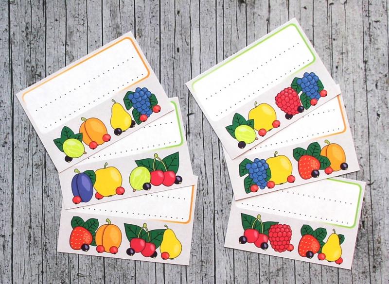 Kleinesbild - Einmachetiketten **Früchtchen2** von ZWEIFARBIG 12 Stück gummiertes Papier Etiketten Aufkleber Sticker Dekoration Marmeladenetiketten