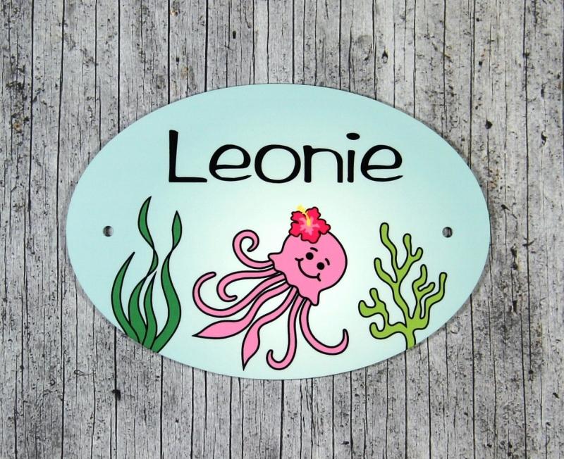 Kleinesbild - Namensschild mit Anhänger **Quendoline Qualle** von ZWEIFARBIG Namensset Geschenk Geburt Taufe Türschild Kindergarten Kinderzimmer