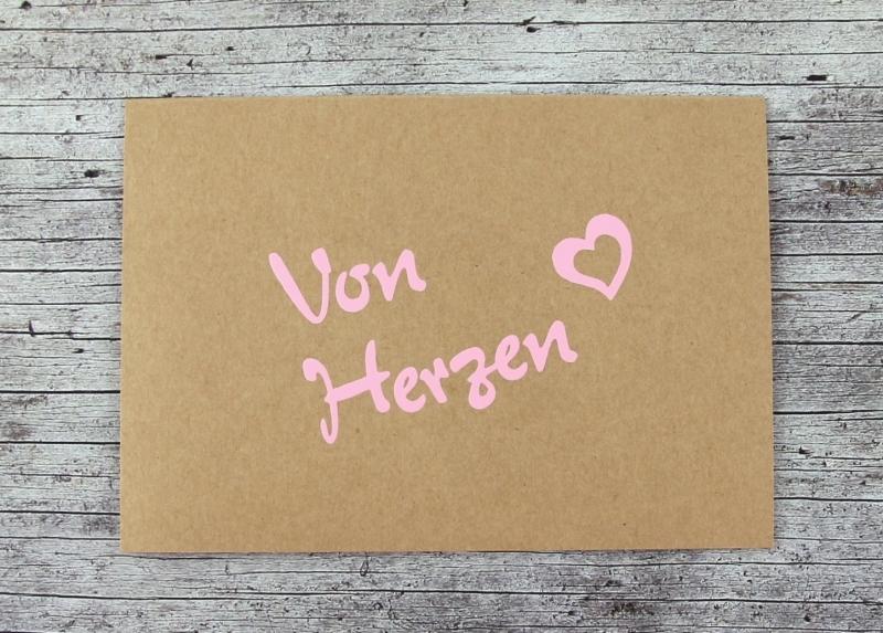 Kleinesbild - Klappkarte **VonHerzen** von ZWEIFARBIG Kraftpapier Muttertag Valentinstag Geburtstag Geburtstagskarte Geburtsgrüße Grußkarte Hochzeit