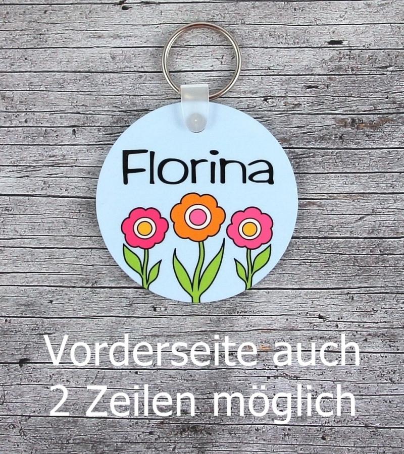 Kleinesbild - Namensschild mit Anhänger **Blümchen** von ZWEIFARBIG Namensset Geschenk Geburt Taufe Türschild Kindergarten Kinderzimmer Blume