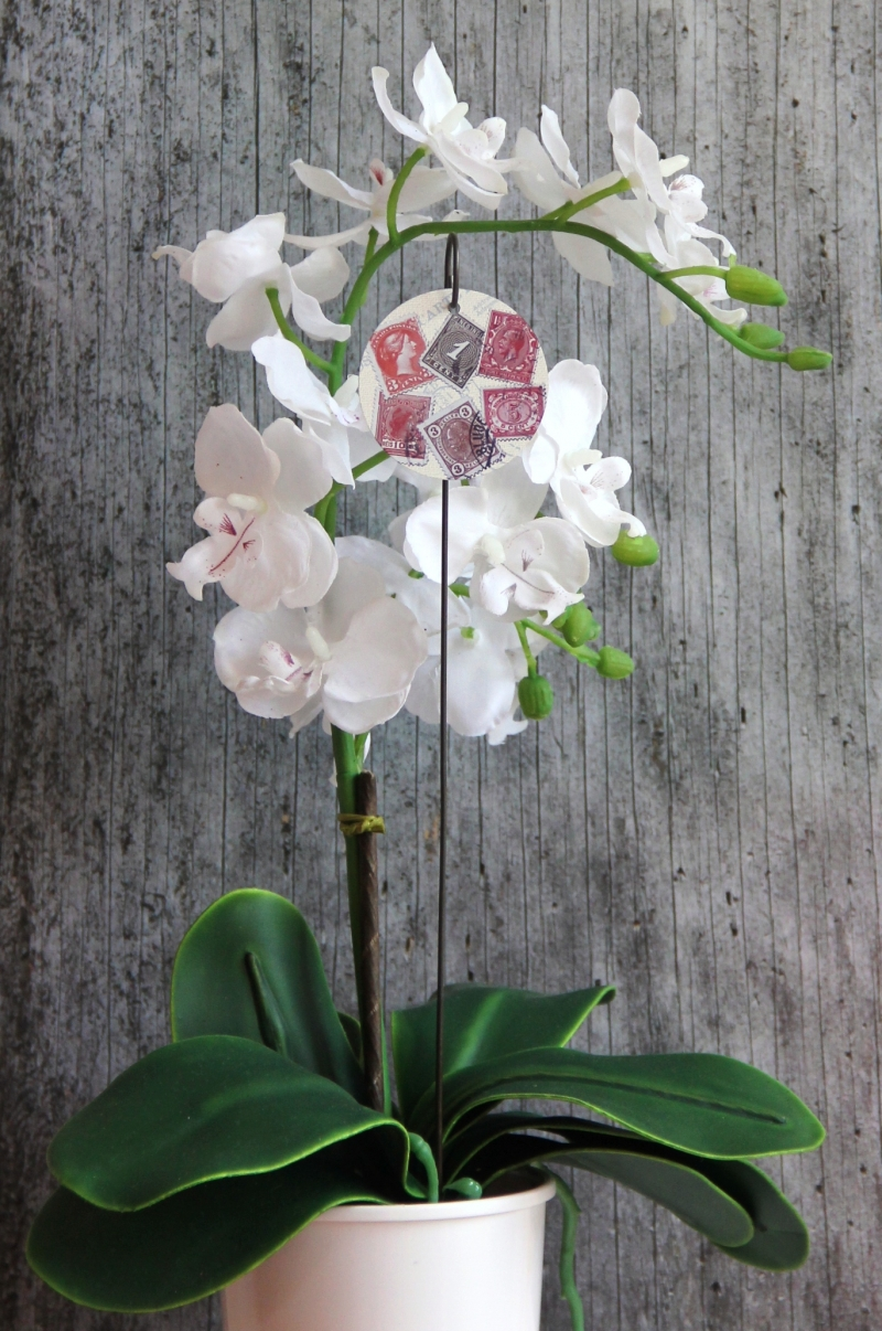 Kleinesbild - Blumenstecker **Philatelie** von ZWEIFARBIG 5cm homedeko Geschenk für Männer Blumenschmuck Dekoration Geburtstag Wohndeko