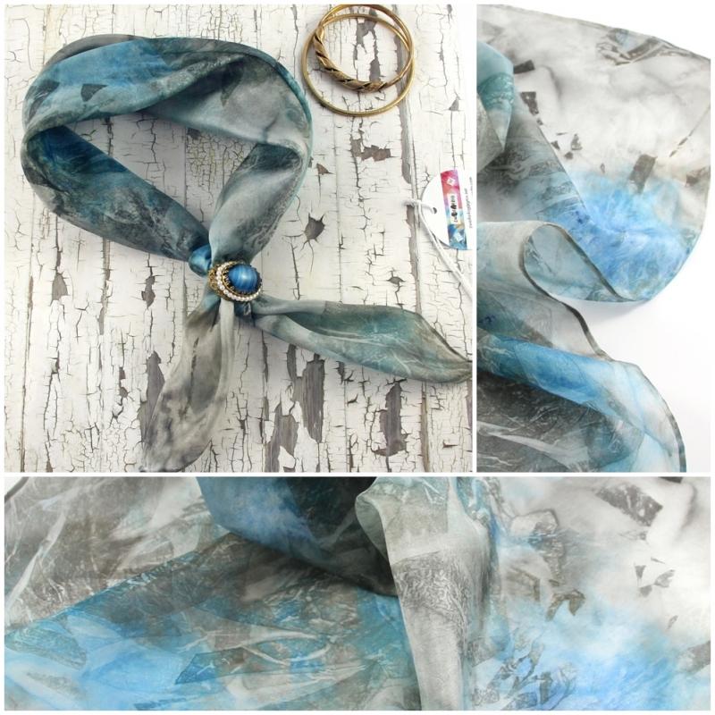 Kleinesbild - Seidentuch 55x55 cm Glow Unikat von ZWEIFARBIG Nickituch Halstuch Seidenschal Accessoire handgefärbt Handarbeit