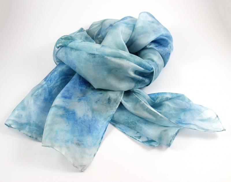 Kleinesbild - Seidenschal 180x45 cm Aqua Einzelstück von ZWEIFARBIG handgefärbt Accessoire Halstuch Schal