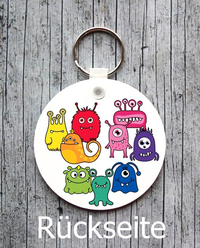 Kleinesbild - Namensschild mit Anhänger **MonstAAA10** von ZWEIFARBIG Namensset Geschenk Geburt Taufe Türschild Kindergarten Kinderzimmer Monster