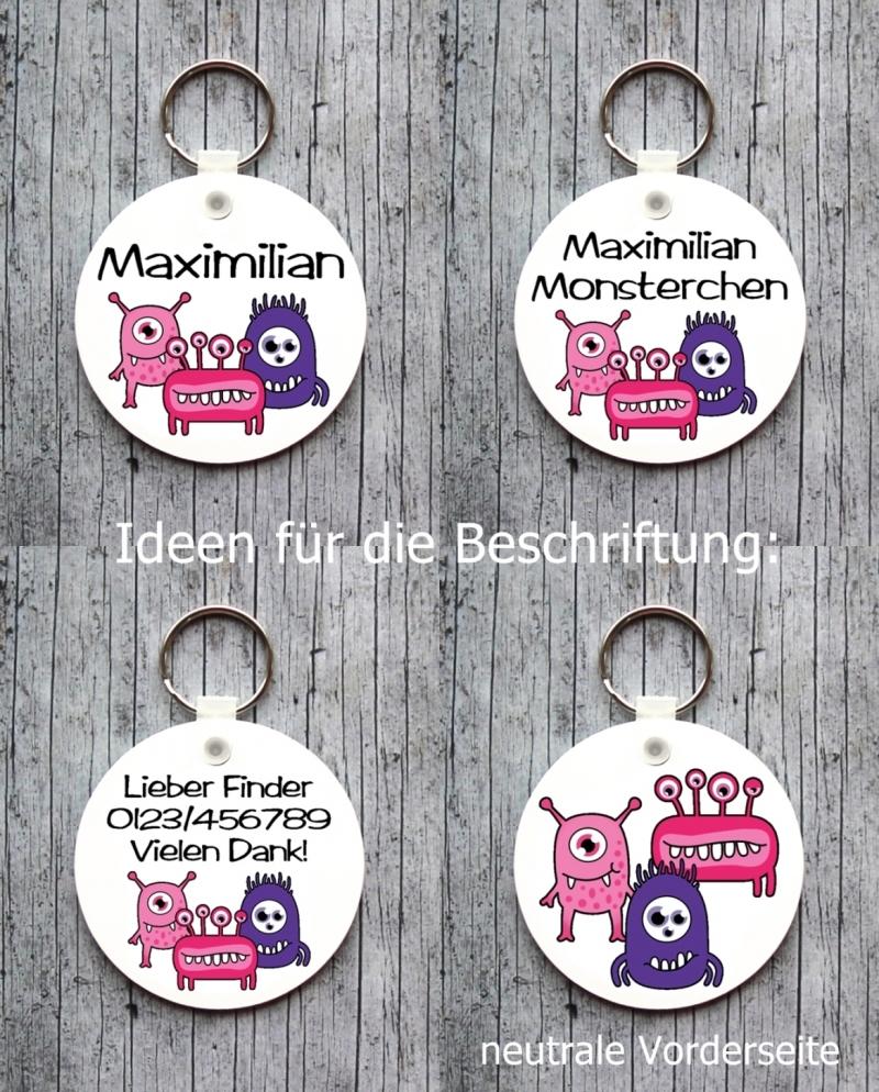 Kleinesbild - Namensschild mit Anhänger **MonstAAA11** von ZWEIFARBIG Namensset Geschenk Geburt Taufe Türschild Kindergarten Kinderzimmer Monster