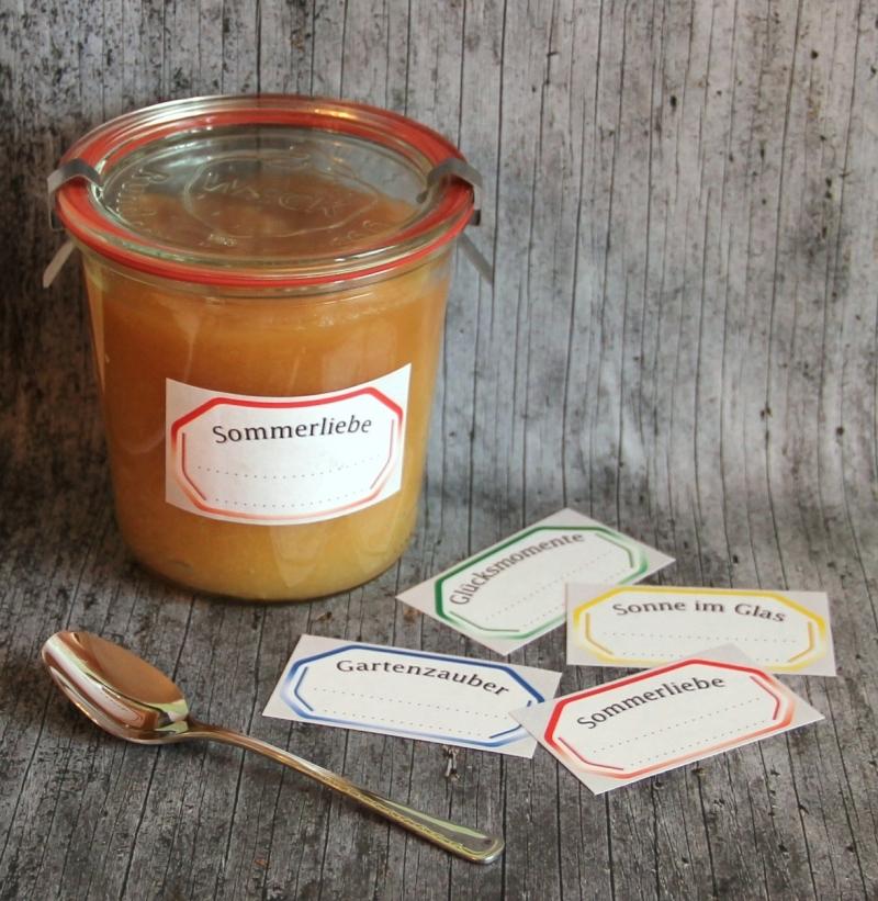 Kleinesbild - Einmachetiketten **LeckerBISSEN2** von ZWEIFARBIG 12 Stück gummiertes Papier Etiketten Dekoration Aufkleber Sticker Marmeladenetikett