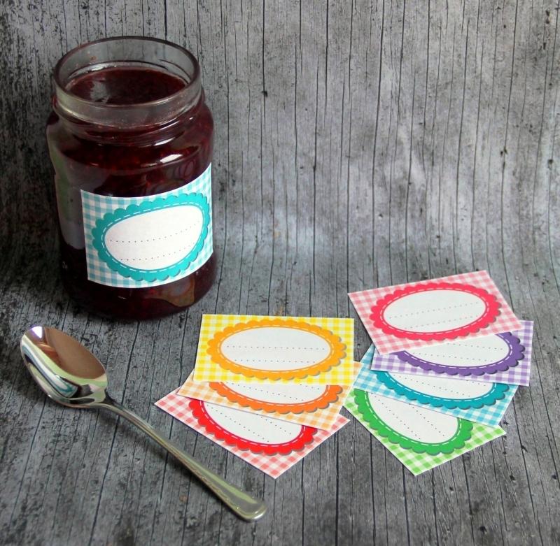 Kleinesbild - Einmachetiketten **KaRiert1** von ZWEIFARBIG 16 Stück gummiertes Papier Etiketten Dekoration Aufkleber Sticker Marmeladenetikett