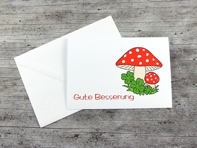 Kleinesbild - Klappkarte **Fliegenpilz** von ZWEIFARBIG Grußkarte Gute Besserung Glückwünsche Genesungswünsche