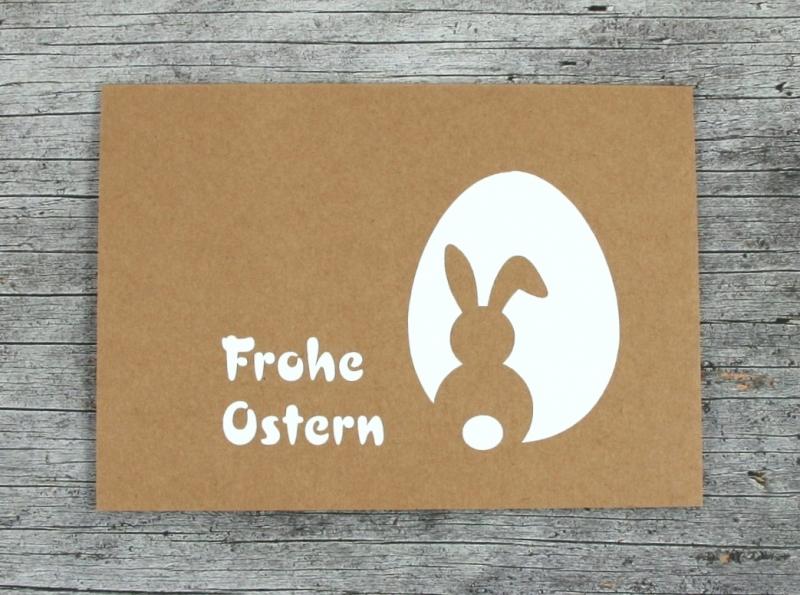 Kleinesbild - Klappkarte **Hase+Ei** von ZWEIFARBIG Kraftpapier Grußkarte Ostern Ostergrüße Kraftpapierkarte Osterkarte Osterwünsche Frohe Ostern