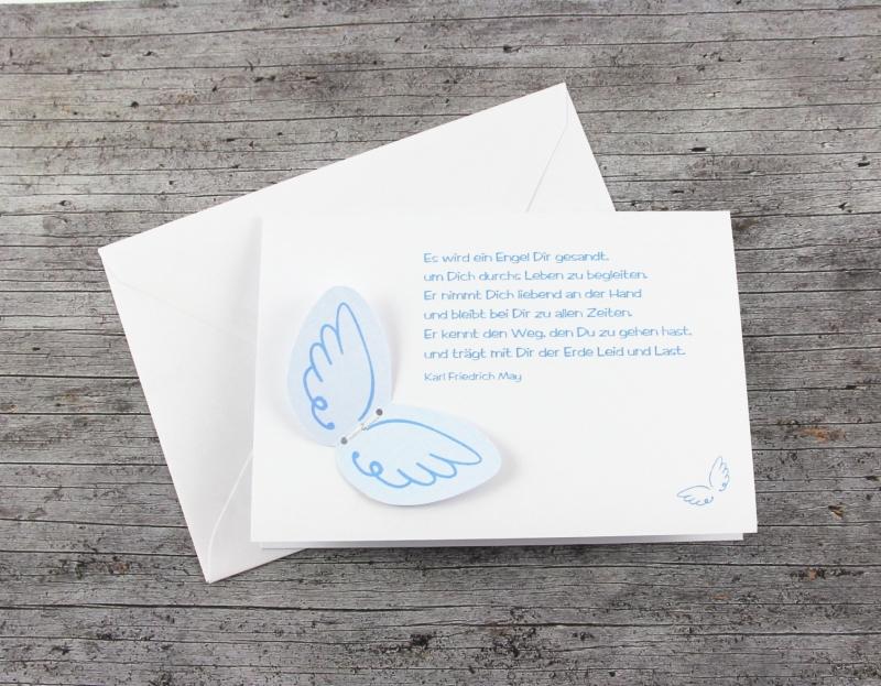 Kleinesbild - 3D-Klappkarte EngelsFlügel2 hellblau von ZWEIFARBIG Grußkarte Geburt Glückwünsche Geburtskarte Taufe Glückwunschkarte 3D-Karte