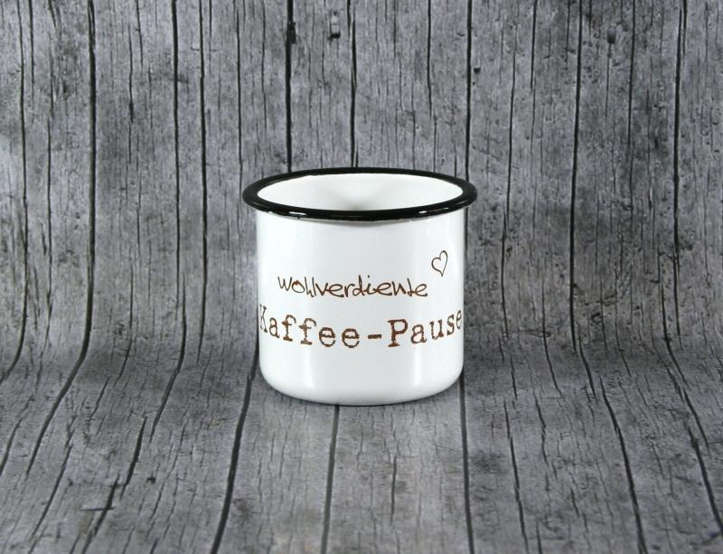 Kleinesbild - Tasse **Kaffee** von ZWEIFARBIG aus Emaille Kaffeetasse Küche Geschenk Emaillebecher Geburtstag Emailletasse Dekoration Küchenbedarf Becher Tasse
