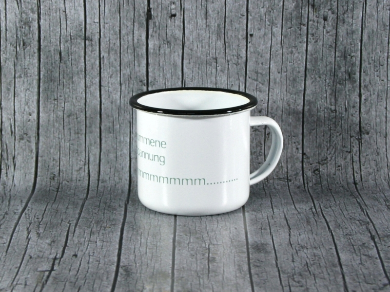 Kleinesbild - Tasse ommm von ZWEIFARBIG aus Emaille Kaffeetasse Küche Geschenk Emaillebecher Geburtstag Dekoration Emailletasse Küchenbedarf Becher Tasse