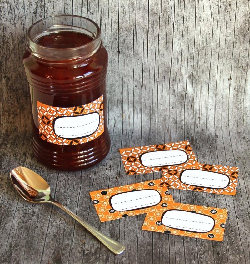 Kleinesbild - Einmachetiketten **geMustert2** von ZWEIFARBIG 16 Stück gummiertes Papier Etiketten Aufkleber Sticker Marmeladenetiketten Dekoration