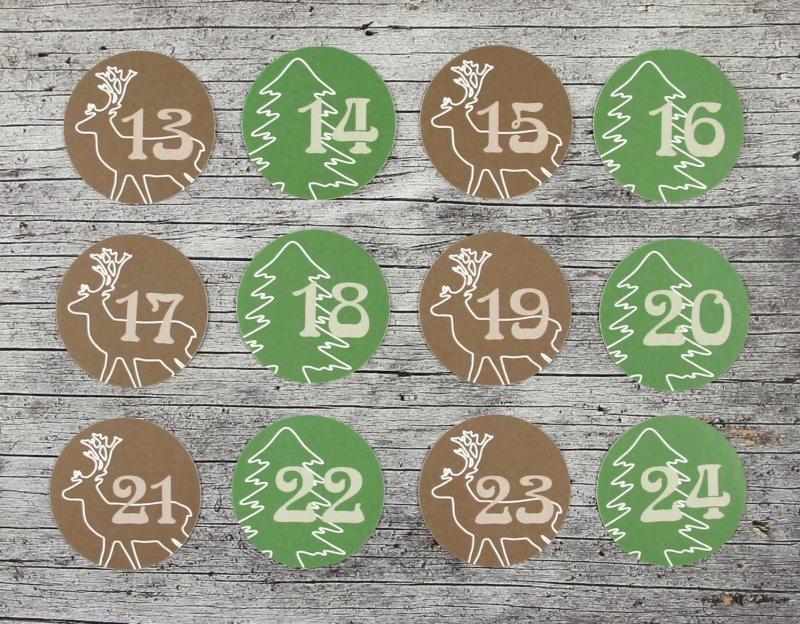 Kleinesbild - Adventskalenderzahlen **Hirsch+Tanne** von ZWEIFARBIG 24 Stück 40mm Aufkleber Adventskalender Zahlenaufkleber Advent Etiketten Adventszahlen Weihnachten Hirsch Baum