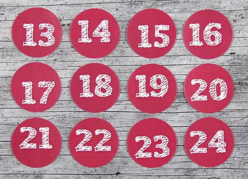 Kleinesbild - Adventskalenderzahlen **geSTRICHelt** von ZWEIFARBIG 24 Stück 40mm Aufkleber Adventskalender Zahlenaufkleber Advent Etiketten Adventszahlen Weihnachten
