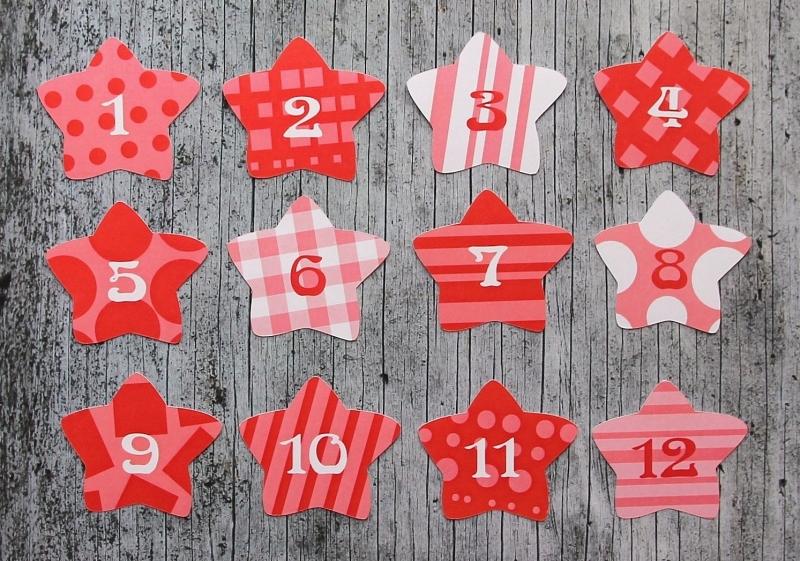 Kleinesbild - Adventskalenderzahlen **Rote Sterne** von ZWEIFARBIG 24 Stück Aufkleber Adventskalender Zahlenaufkleber Advent Etiketten Adventszahlen Weihnachten