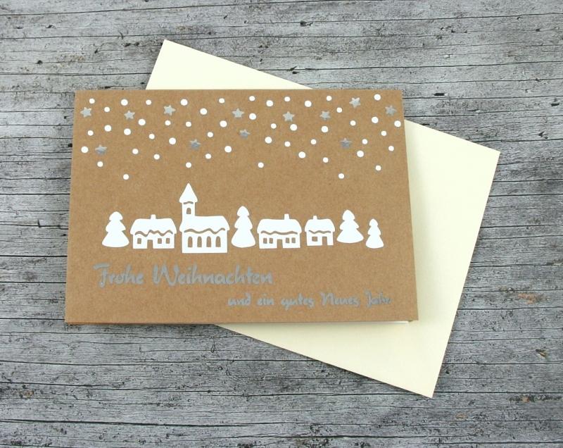 - Klappkarte **Winterdorf** von ZWEIFARBIG Kraftpapier Weihnachtswünsche Frohe Weihnachten Grußkarte Weihnachtskarte Weihnachtsgrüße Kraftpapierkarte - Klappkarte **Winterdorf** von ZWEIFARBIG Kraftpapier Weihnachtswünsche Frohe Weihnachten Grußkarte Weihnachtskarte Weihnachtsgrüße Kraftpapierkarte